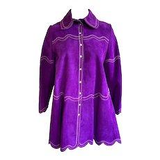 Vintage 1970s 'Gassy Jack' Ladies Purple Suede Embroidered Swing Jacket
