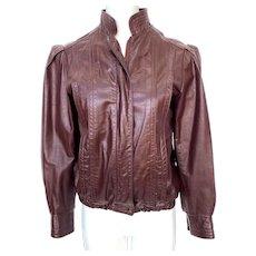 Vintage 1970s Northside Burgundy Leather Women's Jacket Puffed Sleeves
