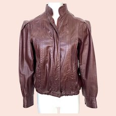 Vintage 1970s Northside Burgundy Leather Women's Jacket Puffed Sleeves