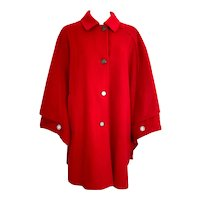 Vintage Red Wool Ladies Merlet Tiroler Loden Cape