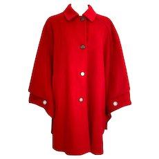 Vintage Red Wool Ladies Merlet Tiroler Loden Cape