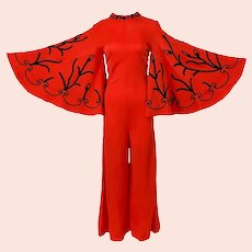 Vintage 1970s Lipstick Red Jumpsuit by Miss Jane Miami