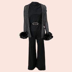 Vintage 1970s Black Silver Metallic Pantsuit Feather Boa Cuffs Rhinestone Belt