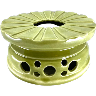 Vintage Stangl Pottery Mod Green Ceramic Candle Diffuser Dish Warmer