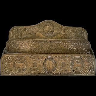 Tiffany Studios Desk Set Brown Bronze Patina Zodiac Paper Rack Two Cavities #1009