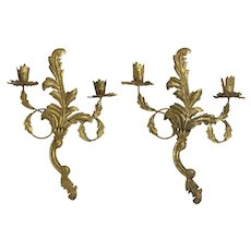 Vintage 1950s Hollywood Regency Gilt Wall Candle Sconce Pair
