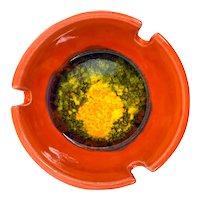 Vintage 1960 Maurice California Fired Glass Glaze Orange Ashtray Nesting Trio Set