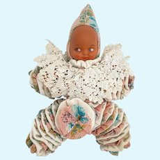 Vintage Yo Yo Baby Doll 1950s Crochet Collar Pointy Cap Korean Plastic Head