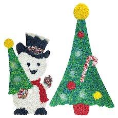 Vintage 1960s Popcorn Plastic Christmas Santa Snowman Wall Hanging Set
