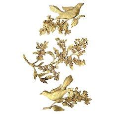 Vintage 1960s Dart Industries Gold Bird Floral Branch Wall Decor Trio