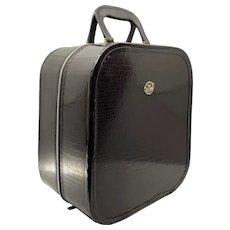 Vintage Brown Faux Alligator Hat Wig Stand Travel Bag Luggage Jet Away