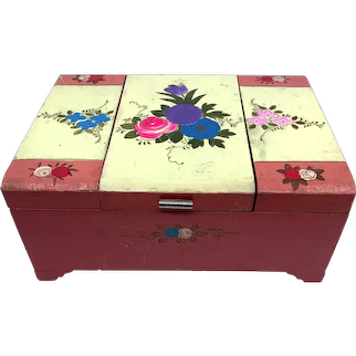Vintage 1940s Floral Hand-Painted Japan Wood Sewing Embroidery Box