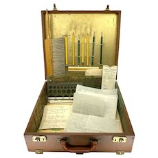 Vintage 1930-1950 Engineering Drafting Portable Case 30 Piece Tool Instrument
