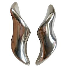 Large Vintage Mid-Century Modern Electroform Sterling Silver Clip-On Earrings