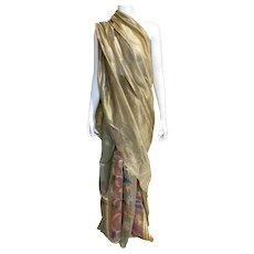 Vintage Gold Multi Silk Sari Floral Iridescent Fabric