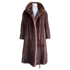 Vintage 1950s Red Brown Muskrat Full Length Ladies Coat