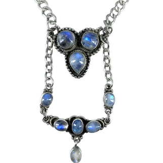 Vintage 1970s Artisan Rainbow Moonstone Sterling Silver Chain Tiered Pendant Necklace