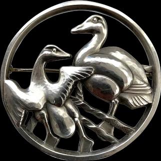 Vintage Danish Modern Georg Jensen Sterling Silver Round Pin Two Ducks Denmark 299