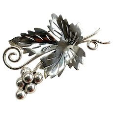Mid-Century Modern Silver Grape Leaf Pin