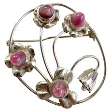 Vintage Mid-Century Modern Sterling Silver Flower Pin with Pink Cabochon Buds