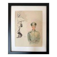 Vintage Young Russian Soldier WW1 La Mascotte du Régiment Russe Print