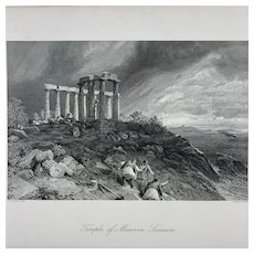Antique Temple of Minerva, Sunium Steel Plate Historical Engraving D. Appleton & Co.