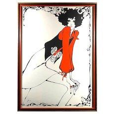 Vintage 1960s Israeli Mod Fashion Girl Print with Hamsa Fish Symbols Ricky Riki