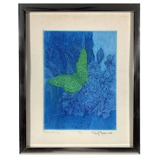 Vintage 1970s Blue Green Abstract Mod Butterfly Etching Print Joy Jerviss