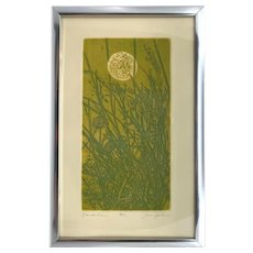 Vintage 1970s Yellow Green Abstract Mod Dandelion Flower Etching Print Joy Jerviss