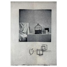 Vintage 1970s Birdcage Still-Life Composition Photo Etching Signed Angela Jansen