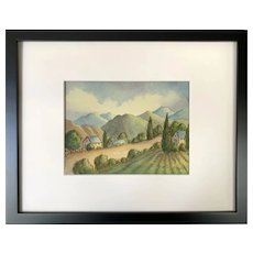 Vintage Watercolor New Hampshire Scenic Landscape Painting by Ethel Moore