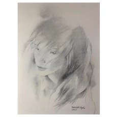 Vintage Original Charcoal Sketch Young Woman Portrait Mariette Lydis
