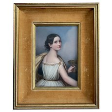 Antique Bavarian Enamel Porcelain Painting of Antonia Wallinger C. M. Hutschenreuther
