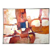 Vintage Mid-Century-Modern Abstract Composition Large Oil Painting by Mazeski