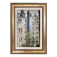 Vintage 1930s Impressionist City Tenement Scene Oil Painting Julius Kahn