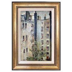 Vintage 1930s Impressionist City Tenement Scene Oil Painting Julius Kahn