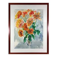 Vintage 1980s Impressionist Orange Chrysanthemum Flower Bouquet Oil Painting Julius Kahn