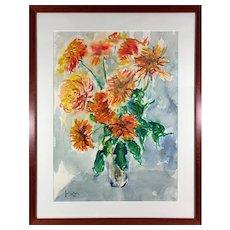 Vintage 1980s Impressionist Orange Chrysanthemum Flower Bouquet Oil Painting Julius Kahn