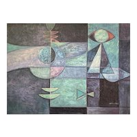 Vintage Mid-Century Modern Abstract Geometric Composition Painting by William
