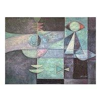 Vintage Mid-Century Modern Abstract Geometric Original Oil Painting Signed William