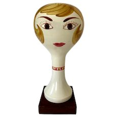 Vintage Stangl Pottery Hand-Painted Ceramic Ladies Head Hat Wig Stand
