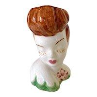 Vintage 1950s Ceramic Bashful Auburn Lady Head Vase