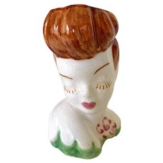 Vintage 1950s Ceramic Bashful Auburn Lady Head Vase