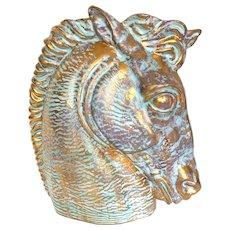 Vintage Rare Large Gold Glazed Ceramic Horse Head Vase Sculpture Stangl Pottery