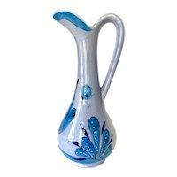 Vintage 1960s Blue Bird Butterfly Tonalá Jalisco Mexico Pottery Pitcher