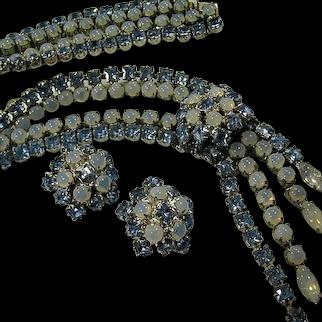 Vintage KARU Demi Necklace Earrings Icy Blue High End Signed Estate 1940's