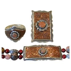 Retired Carolyn Pollack SET Relios Sterling Silver & Copper Southwestern Bracelet Pendant Ring Parure