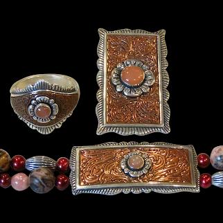 Retired Carolyn Pollack SET Relios Sterling Silver & Copper Southwestern Bracelet Pendant Ring Parure