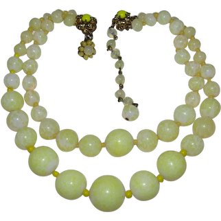 Vintage MIRIAM HASKELL 2 Strand Necklace Yellow White Glass Beads Signed RARE