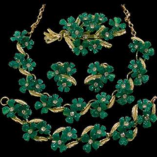 Vintage Demi Parure Necklace Bracelet Brooch Earrings Green Rhinestone Flowers